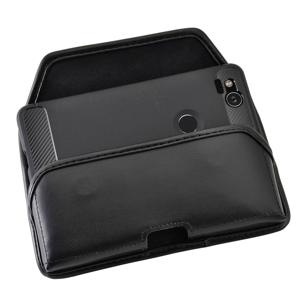 sports shoes 473e5 1ab4c Google Pixel 2 Belt Case Fits Slim Case Black Leather Heavy Duty Rotating  Belt Clip