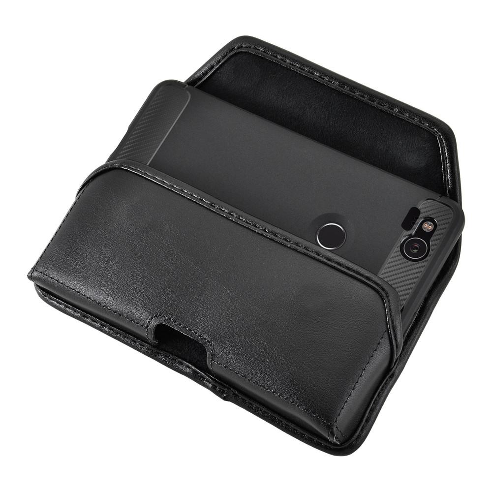 Google Pixel 2 Belt Case Fits Slim Case Black Leather Heavy Duty Rotating Belt Clip
