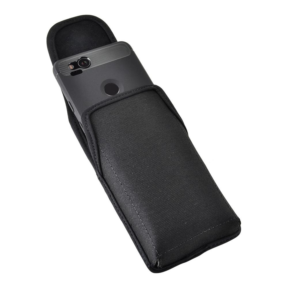 Google Pixel 2 Belt Case Fits Slim Case Vertical Black Nylon Heavy Duty Rotating Belt Clip