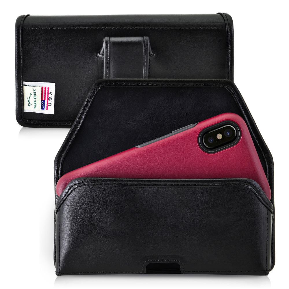 meet a1f42 81d67 iPhone X Holster fits OTTERBOX COMMUTER SYMMETRY Case Black Belt Case  Leather Belt Clip Horizontal
