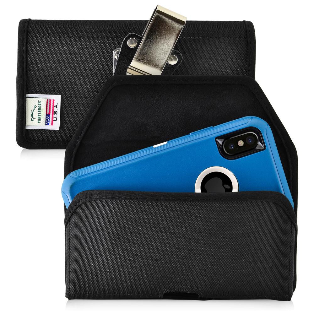 buy online d7f90 c7cc2 iPhone X Belt Clip Case fits OTTERBOX DEFENDER Case Black Nylon Holster  Rotating Belt Clip, Horizontal