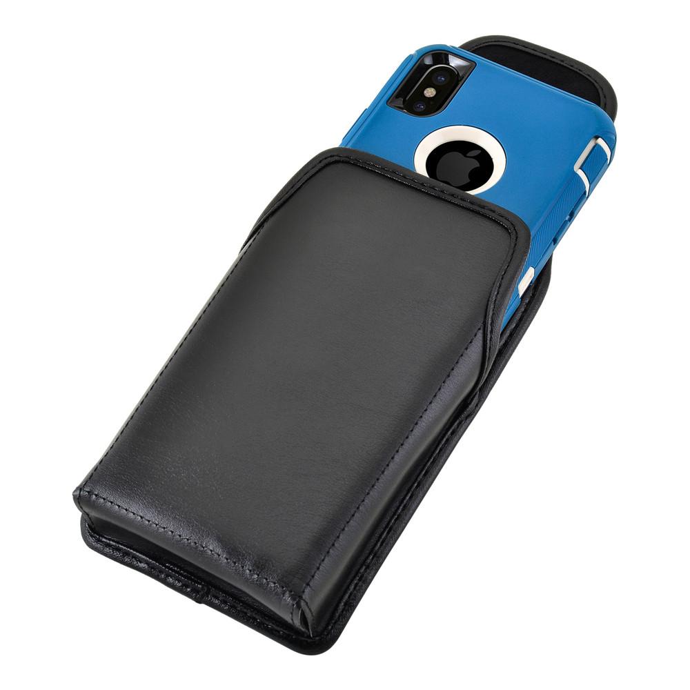 new product 011d7 028bb iPhone X Holster fits OTTERBOX DEFENDER Case Black Belt Case Leather Belt  Clip, Vertical