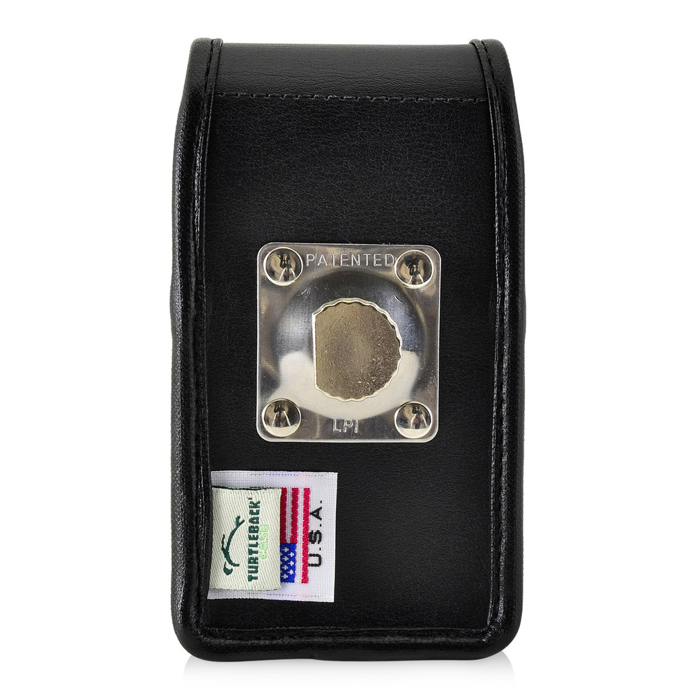 Greatcall Jitterbug Flip Black LEATHER Vertical Holster with Magnetic Closure Heavy Duty Rotating Belt Clip