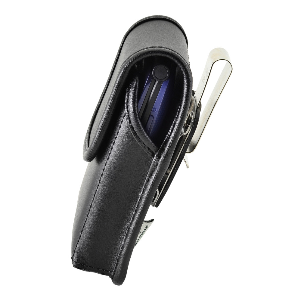 Consumer Cellular Alcatel GO FLIP, Go Flip V, ATT Flip2, T-Mobile 4044W, MYFLIP (A405DL) Black LEATHER Magnet Closure Rotating Belt Clip