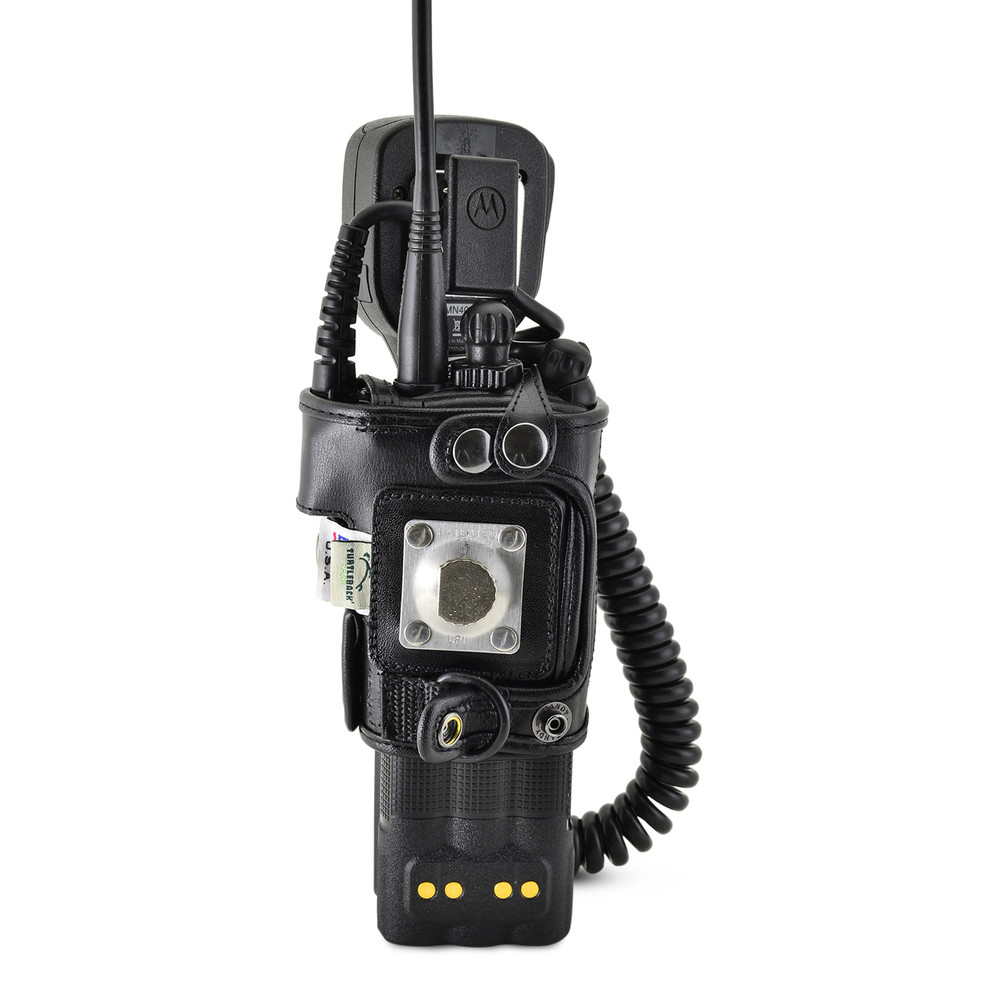 Motorola XTS3500 Models I II III Radio Belt Clip Holder fits in Charger for Two 2 Way Radios Black Leather