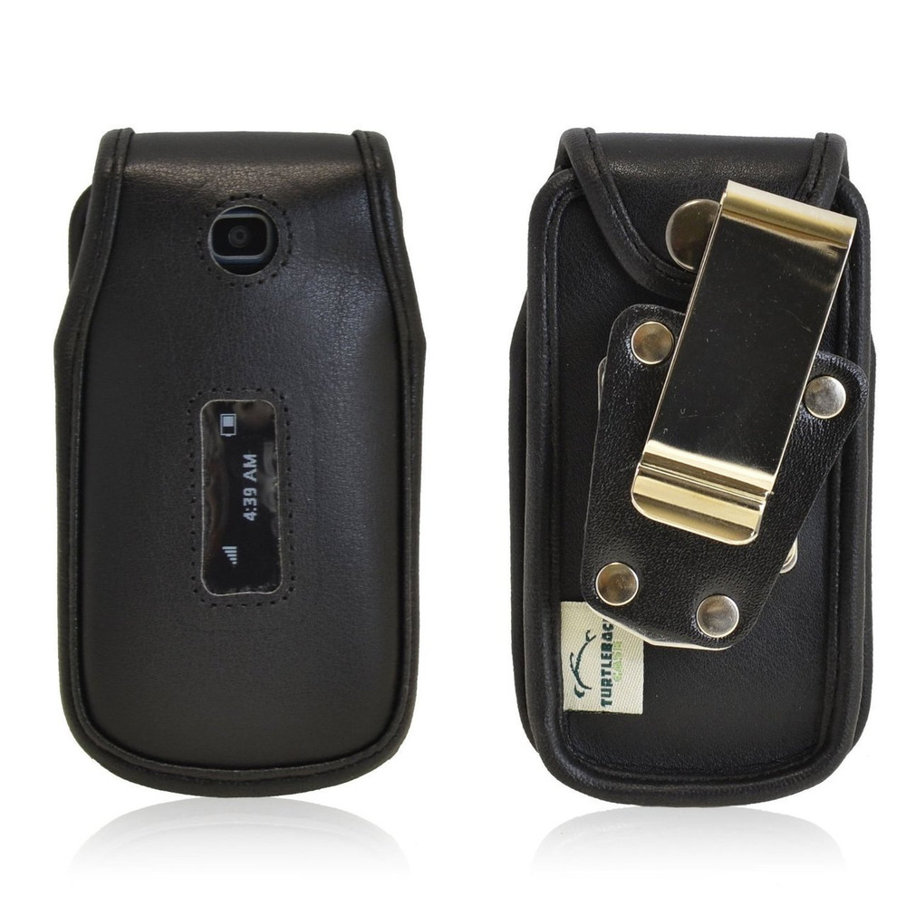 Alcatel 768 Heavy Duty Black Leather Flip Phone Case with Rotating Metal Belt Clip