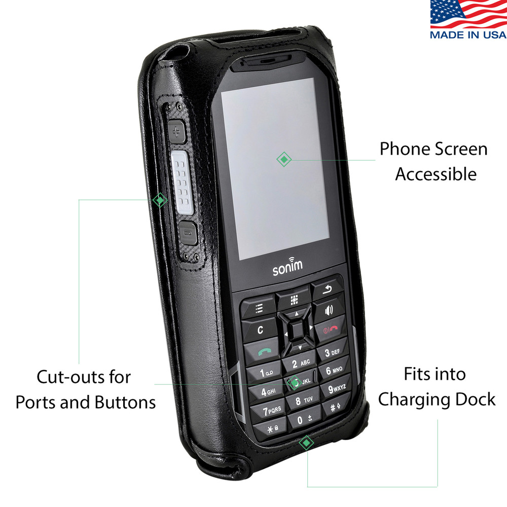Sonim XP5s Fitted Phone Case Black Leather Metal Clip Turtleback