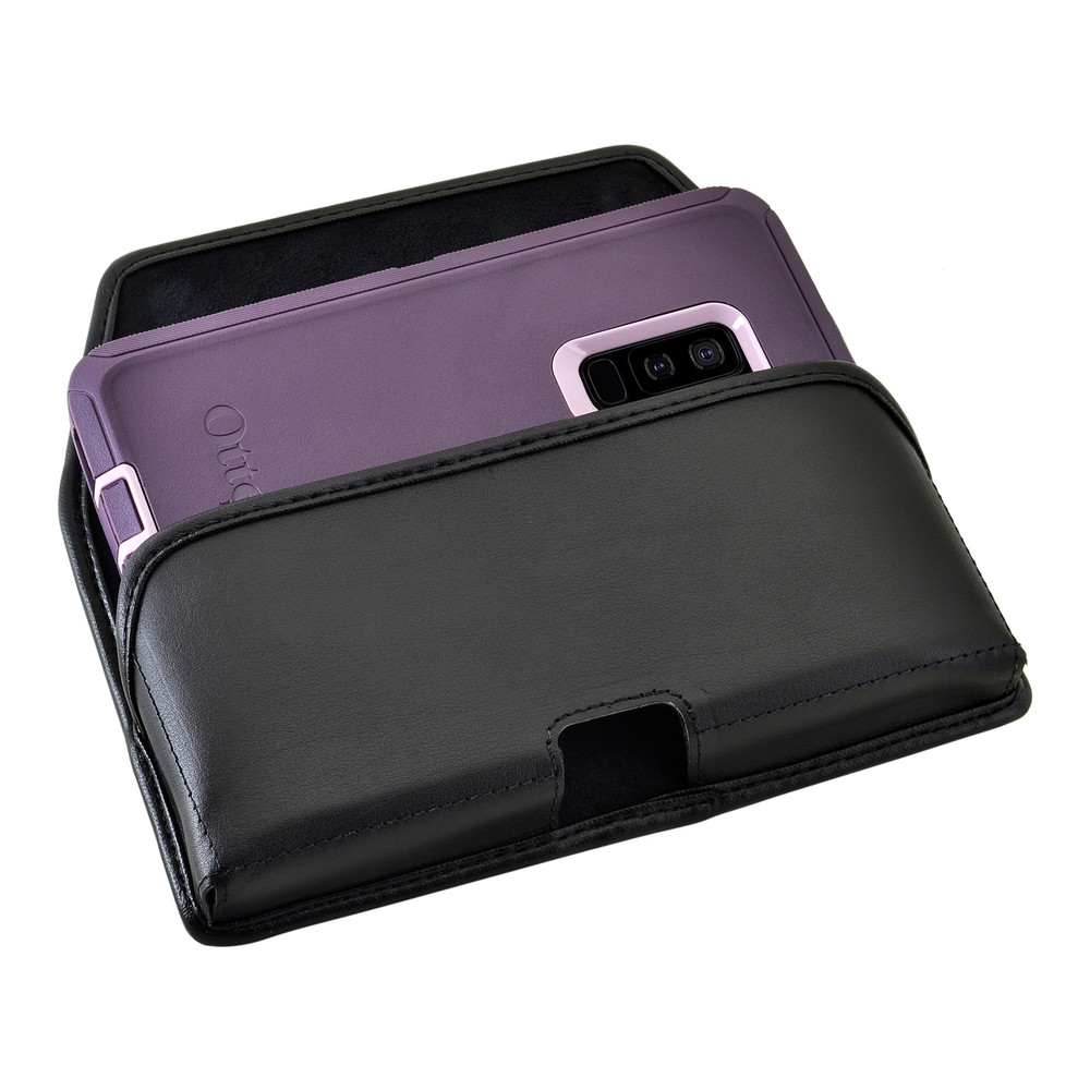 Galaxy S9 Plus Holster for Otterbox DEFENDER Case Flush Leather Covered Metal Belt Clip Pouch