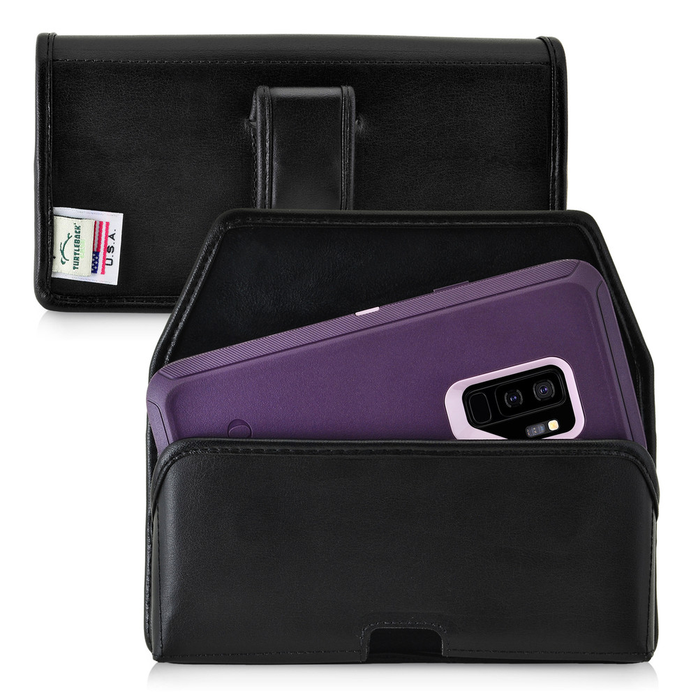 uk availability 7f7c6 37a81 Galaxy S9 Plus Holster for Otterbox DEFENDER Case Flush Leather Covered  Metal Belt Clip Pouch