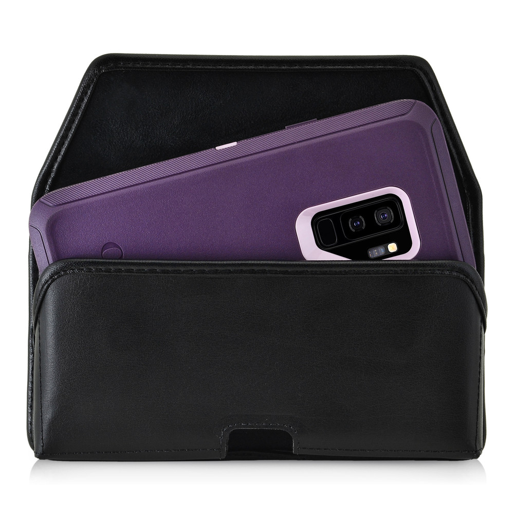 uk availability 9a46e c6277 Galaxy S9 Plus Holster for Otterbox DEFENDER Case Flush Leather Covered  Metal Belt Clip Pouch