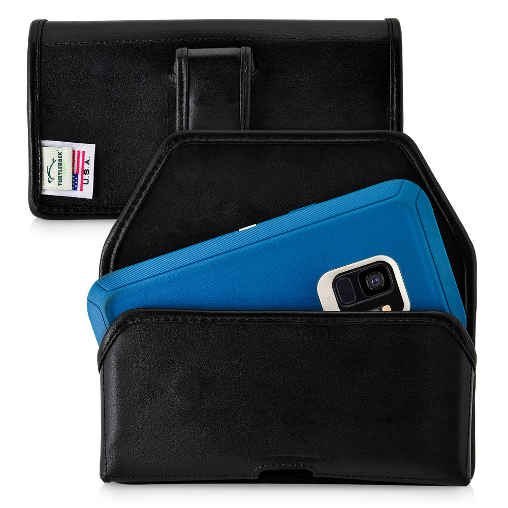 Galaxy S9 Holster made for Otterbox DEFENDER Case Flush Leather Covered Metal Belt Clip Pouch