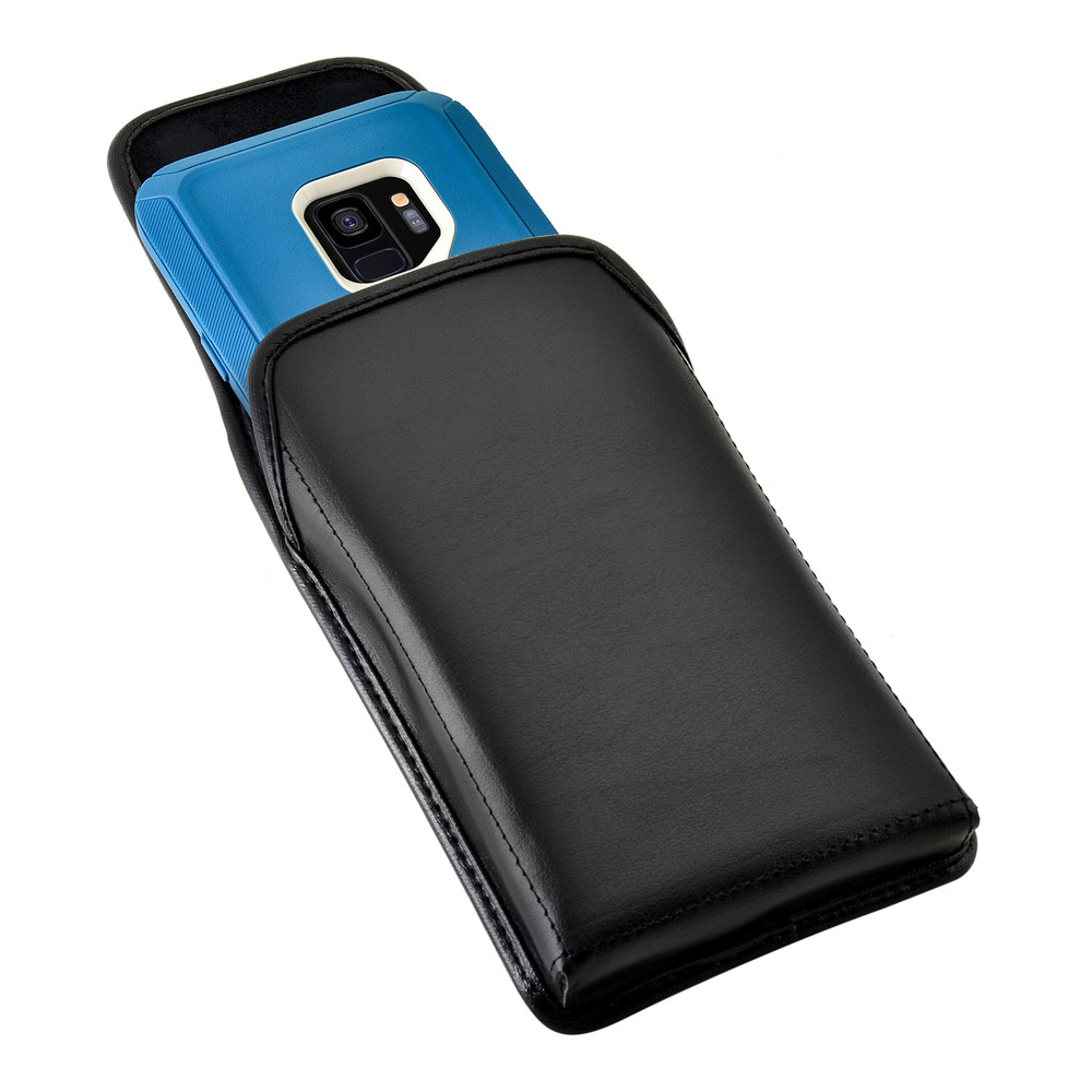 Galaxy S9 Vertical Belt Case made for Otterbox DEFENDER Case Rotating Belt Clip Black Leather Pouch