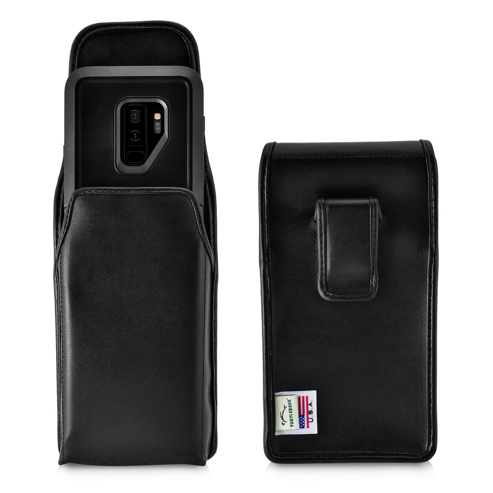 low priced 95de7 95849 Galaxy S9 Plus Vertical Holster for Otterbox PURSUIT Case Flush Leather  Covered Belt Clip Pouch