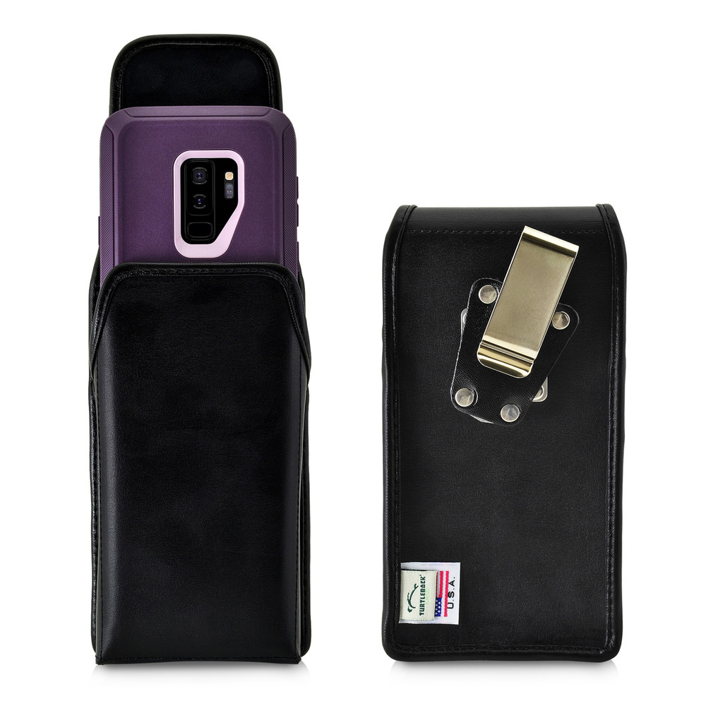 newest 55a61 b9aa2 Galaxy S9 Plus Vertical Belt Case for Otterbox DEFENDER Case Rotating Belt  Clip Black Leather Pouch
