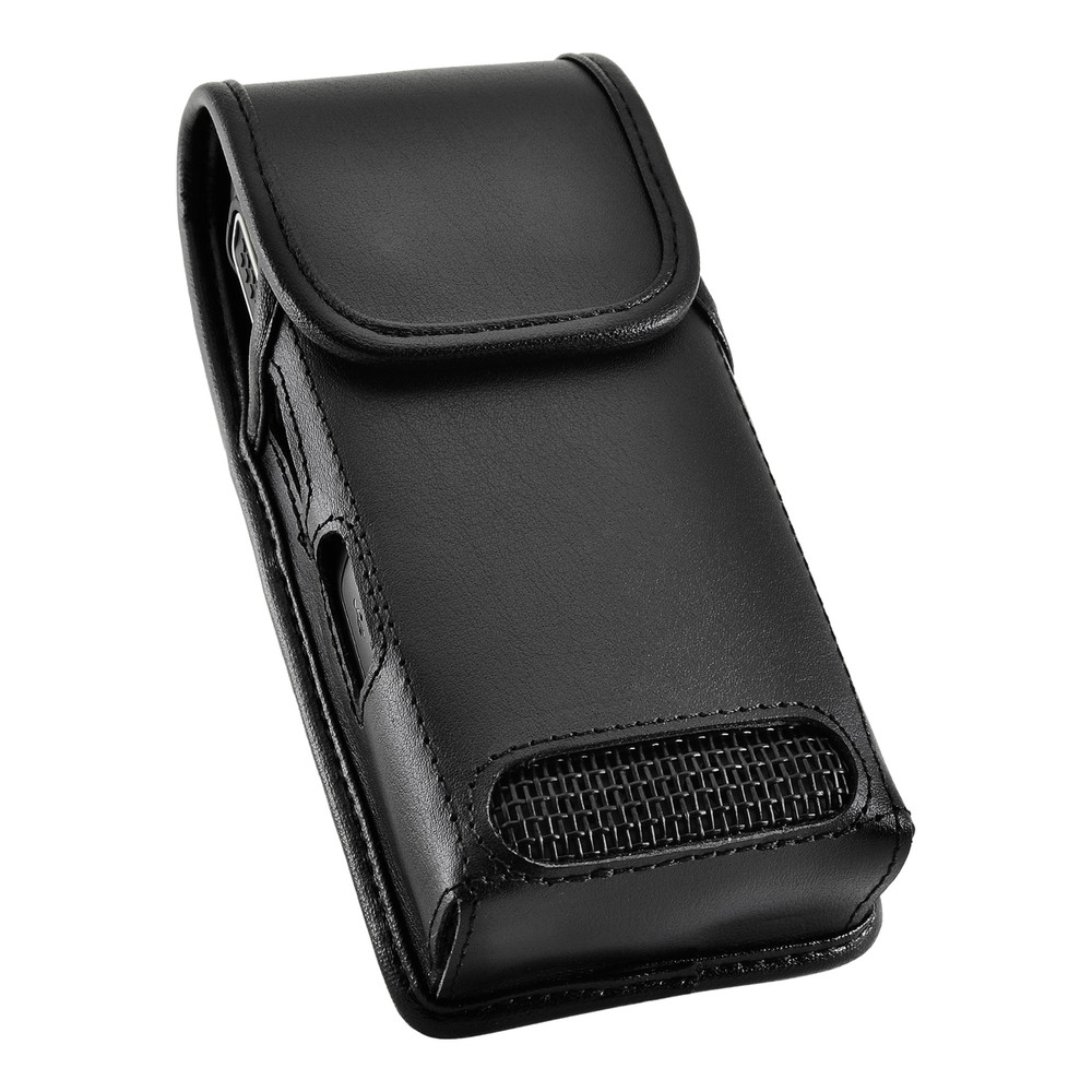 Kyocera DuraTR E4750 Phone Radio Black Leather Pouch Holster Case Heavy Duty Rotating Belt Clip, Magnetic Flap