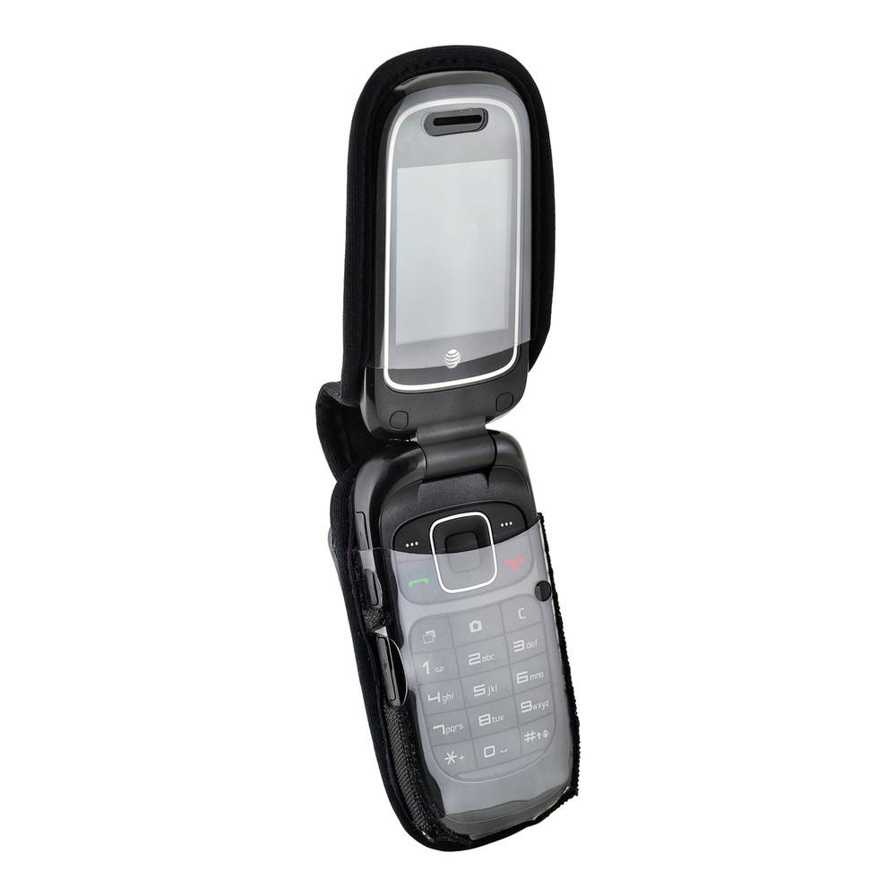 ATT ZTE Z223 Flip Phone Black NYLON Belt Fitted Flip Phone Case Metal Ratcheting Removable Belt Clip