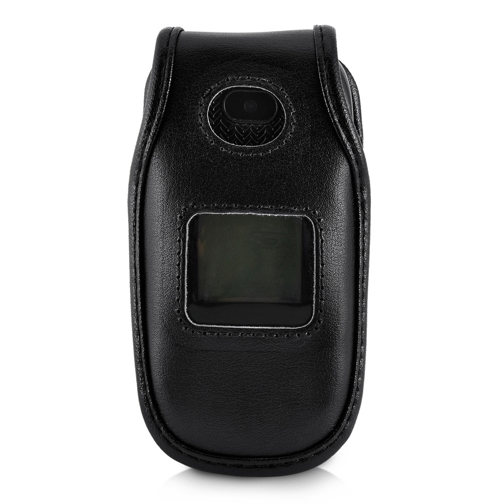 hot sale online 07c42 17c3e ATT ZTE Z223 Flip Phone Black LEATHER Fitted Phone Belt Case Metal  Ratcheting Removable Belt Clip