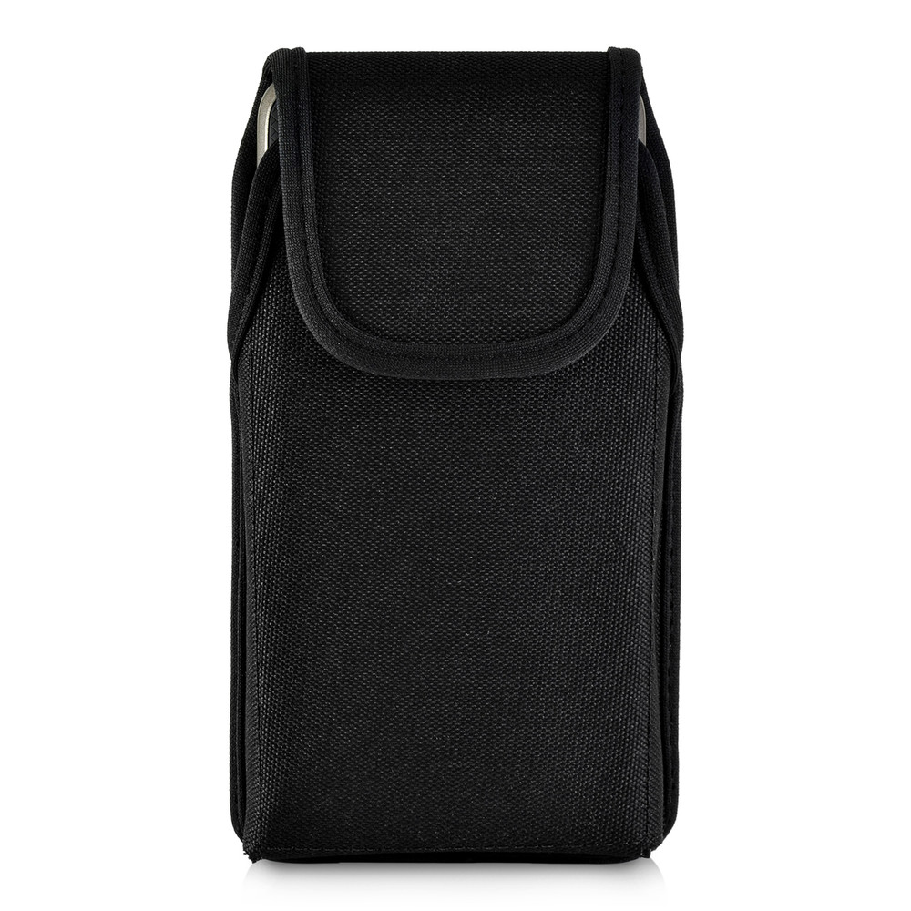 LG G7 Vertical Black Belt Case with Rotating Belt Clip Heavy Duty Black Nylon Pouch