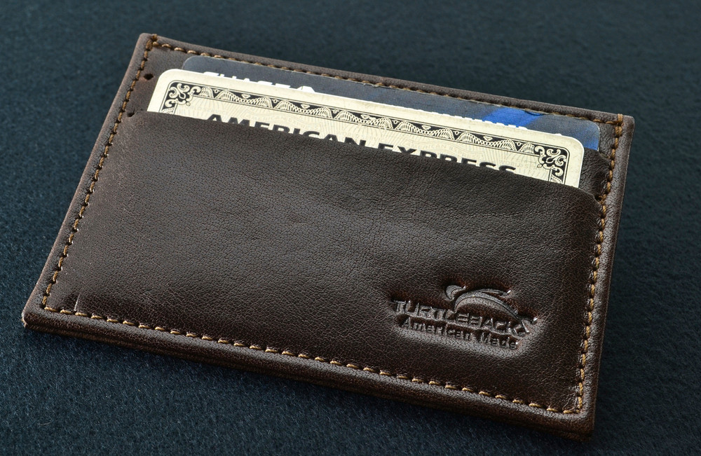 Front Pocket Wallet, Slim & Minimalist Card Holder With RFID Protection Made With Thin Brown Genuine Leather
