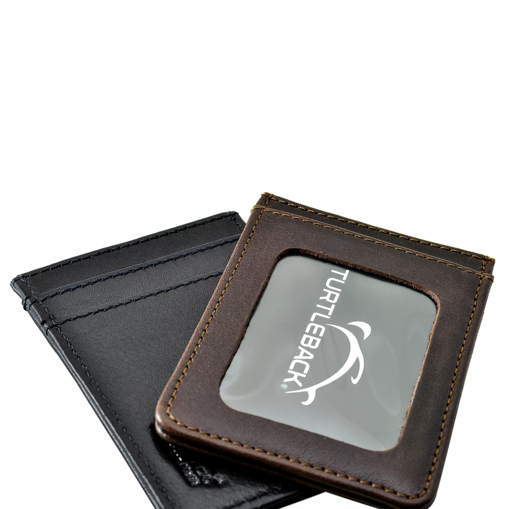 Front Pocket Wallet ID Window Minimalist Slim Card Holder with RFID Blocking Thin Genuine BLACK Leather