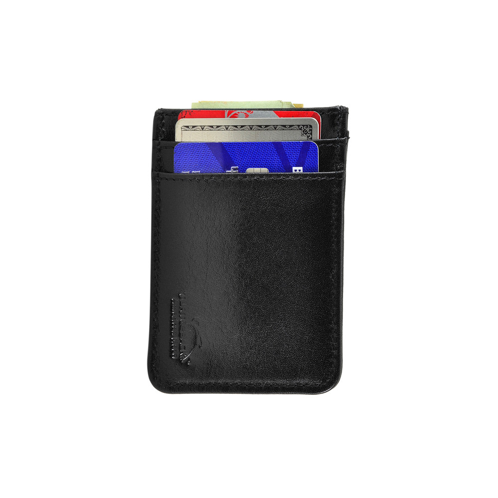 4ed242d35ac8 Front Pocket Wallet ID Window Minimalist Slim Card Holder with RFID  Blocking Thin Genuine BLACK Leather