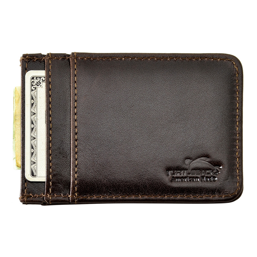 02fca4f52ecc Front Pocket Wallet ID Window Minimalist Slim Card Holder with RFID  Blocking Thin Genuine BROWN Leather