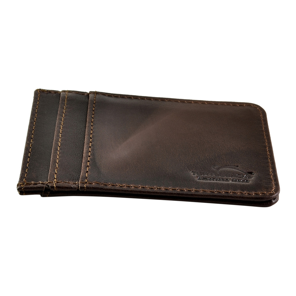 dc711dcd8995 Front Pocket Wallet ID Window Minimalist Slim Card Holder with RFID  Blocking Thin Genuine BROWN Leather