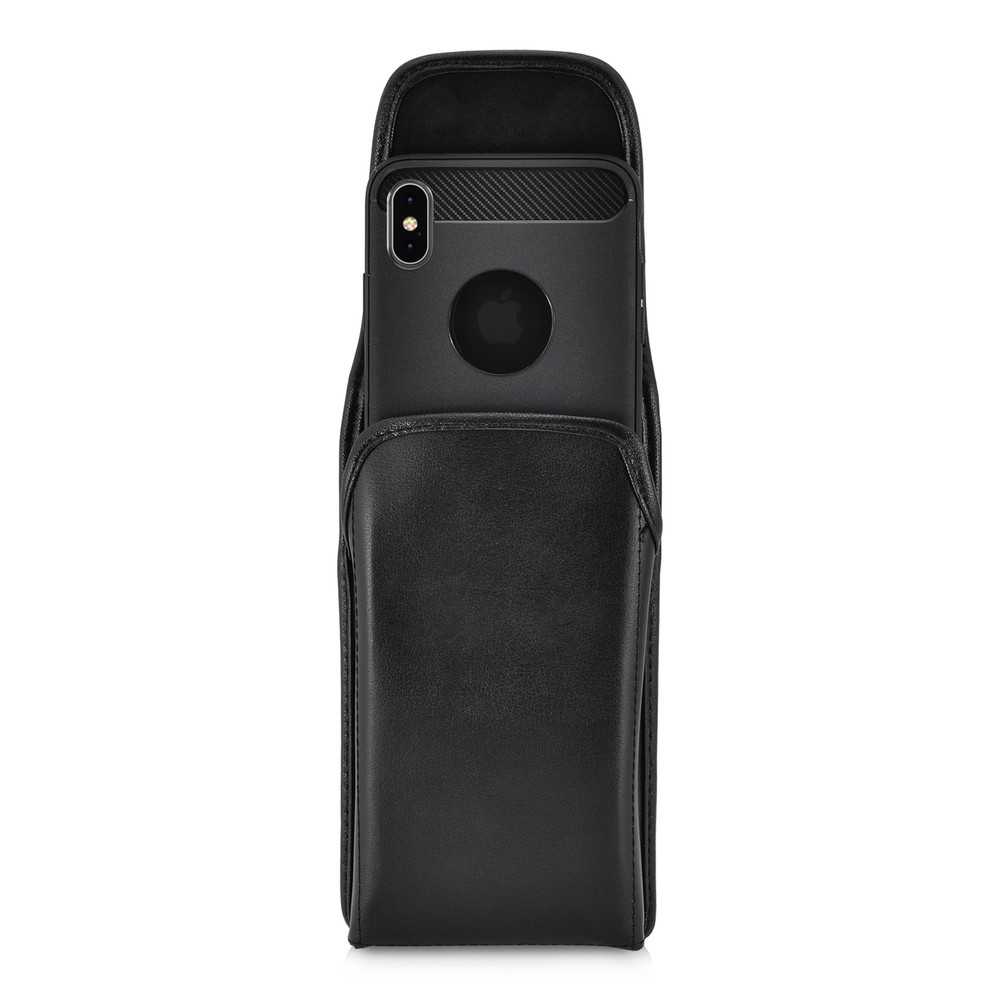 iPhone XS MAX (2018) Belt Case Vertical Holster Black Leather Pouch Heavy Duty Rotating Belt Clip