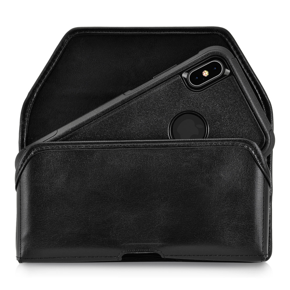 premium selection e931d ee405 iPhone XS MAX (2018) Fits with OTTERBOX COMMUTER Black Leather Holster  Pouch Rotating Belt Clip Horizontal