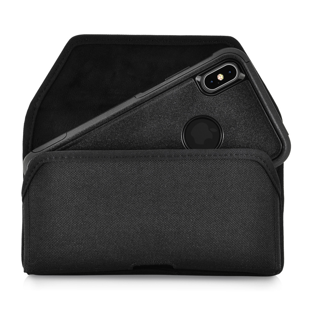 Turtleback Belt Clip Case Designed for iPhone 11 Pro Max (2019) / XS Max (2018) Fits with OTTERBOX COMMUTER, Black Nylon Holster Pouch with Heavy Duty Rotating Belt Clip, Horizontal Made in USA