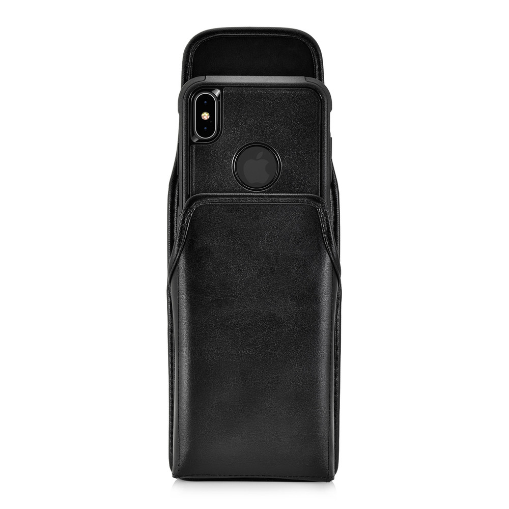 Turtleback Holster Designed for iPhone 11 Pro Max (2019) / XS Max (2018) Fits with OTTERBOX COMMUTER, Vertical Belt Case Black Leather Pouch with Executive Belt Clip, Made in USA