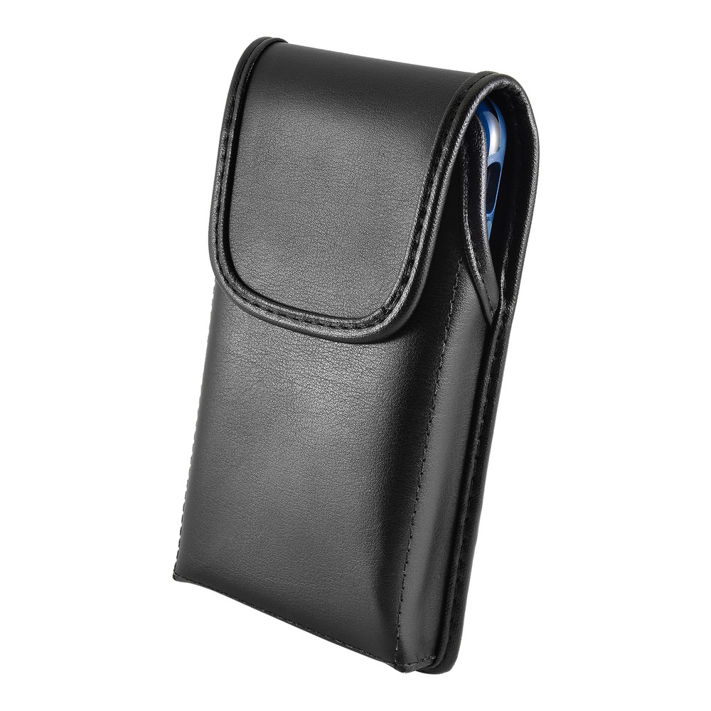 Turtleback Belt Case Designed for iPhone 11 Pro, XS & X Fits with OTTERBOX STATEMENT, Vertical Holster Black Leather Pouch with Heavy Duty Rotating Belt Clip, Made in USA