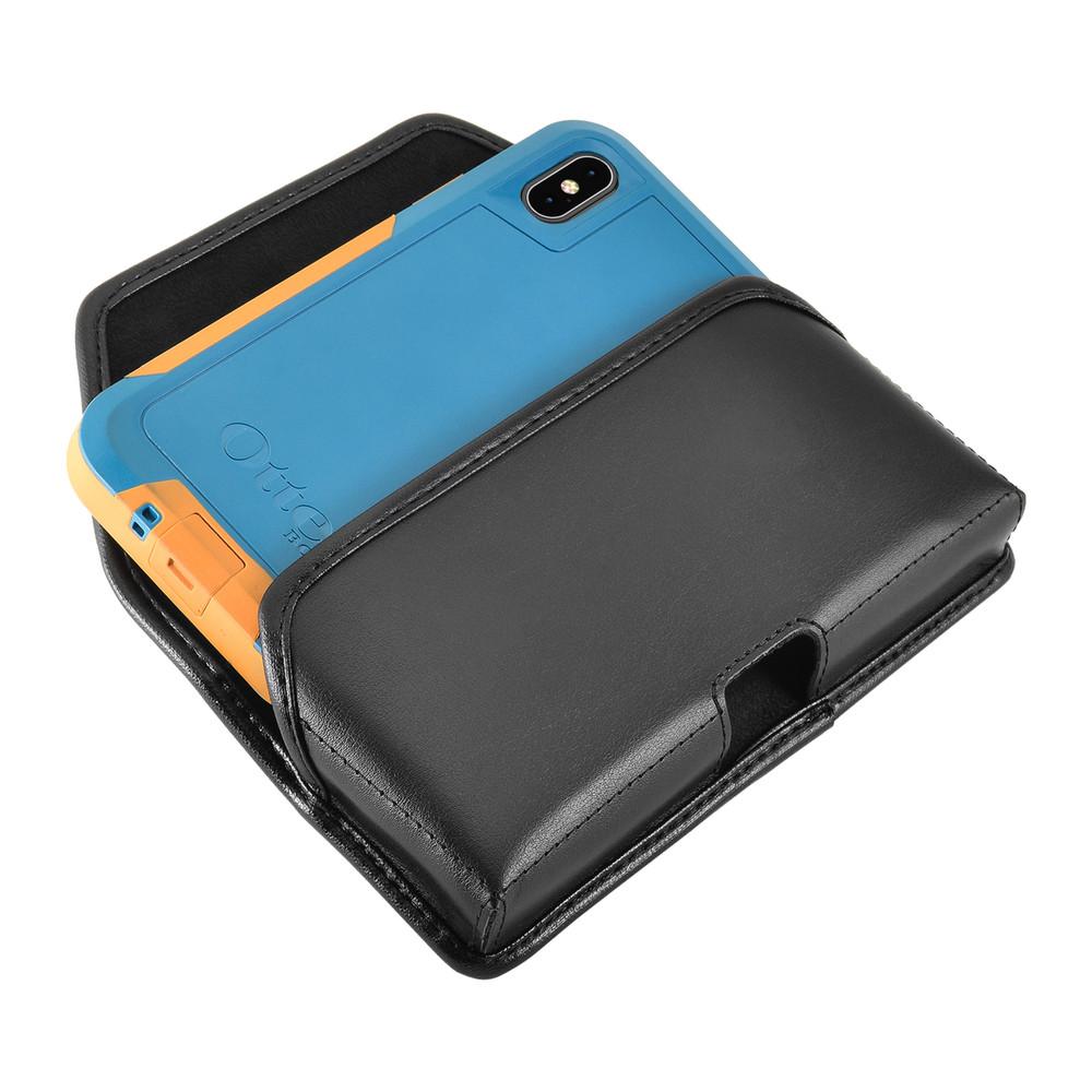 iPhone XS (2018) Fits with OTTERBOX PURSUIT Black Leather Belt Case Pouch Executive Belt Clip Horizontal