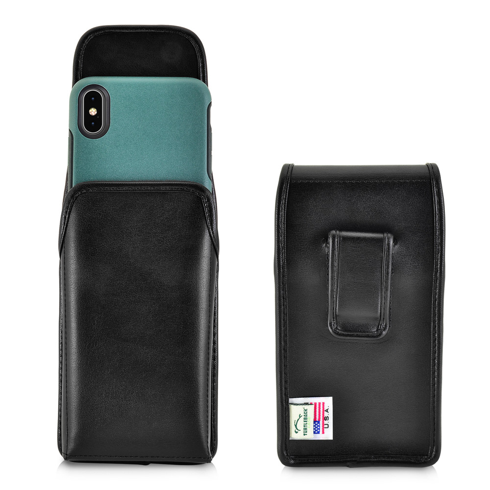 Turtleback Holster Designed for iPhone 11 Pro Max (2019) / XS Max (2018) with OTTERBOX SYMMETRY, Vertical Belt Case Black Leather Pouch with Executive Belt Clip, Made in USA