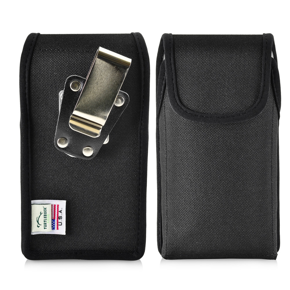 iPhone X Phone Case and Vertical Holster Nylon with Metal Belt Clip Set, Black