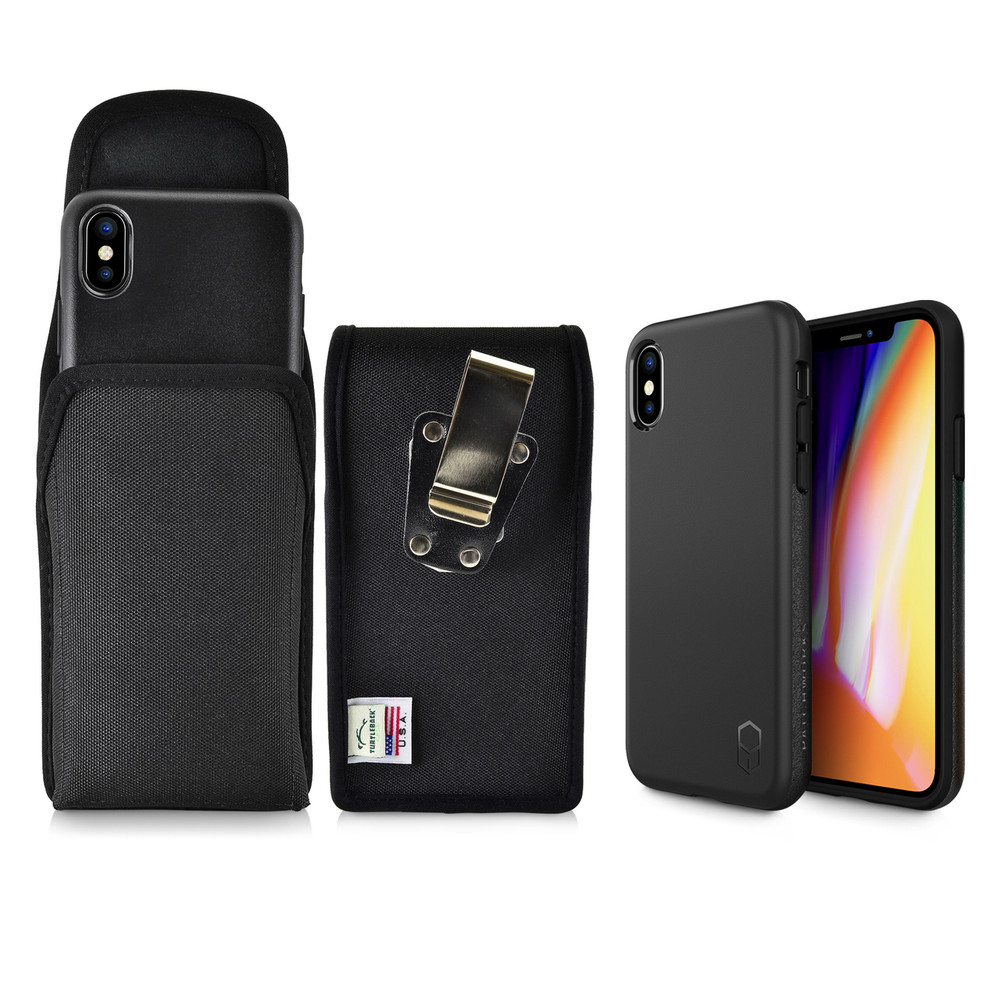 sports shoes bff24 c6fe6 iPhone X Phone Case and Vertical Holster Nylon with Metal Belt Clip Set,  Black