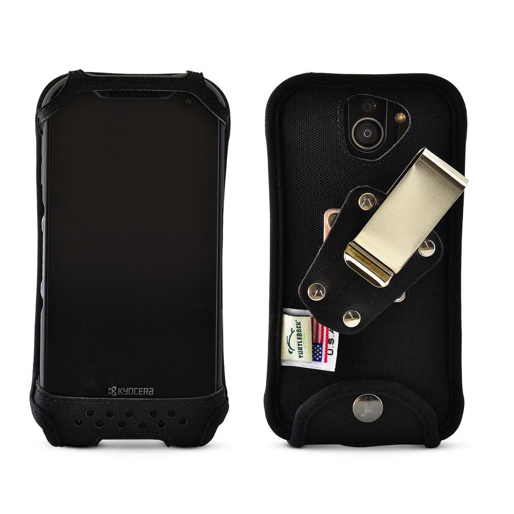 Kyocera DuraForce PRO 2 Fitted Phone Case Black Nylon Metal Clip Turtleback