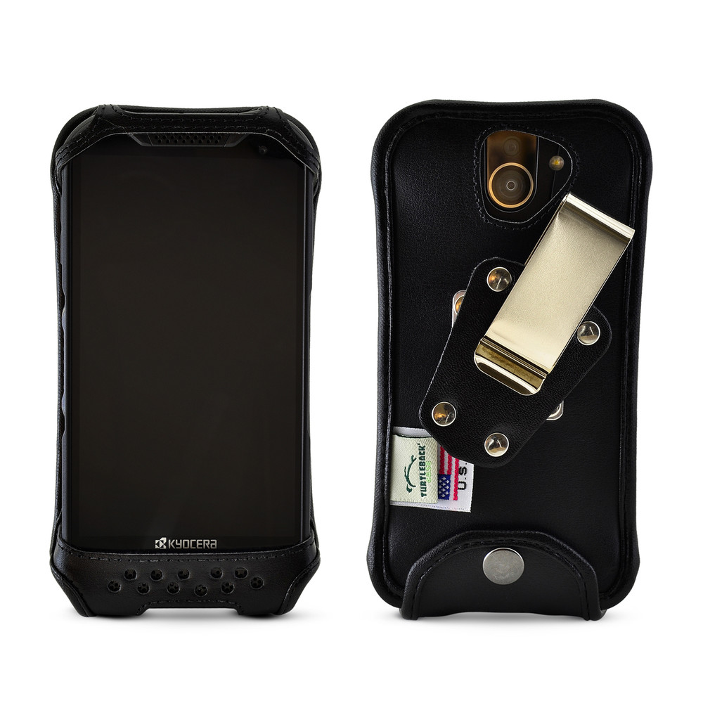 Leather Phone Case >> Kyocera Duraforce Pro 2 Fitted Phone Case Black Leather Metal