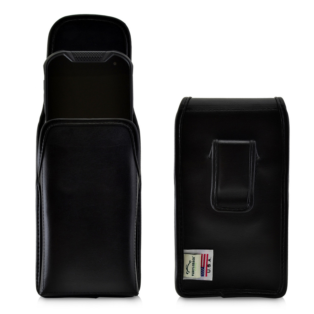 Kyocera DuraForce PRO 2 (6910 6900) Holster Vertical Belt Case, Black Leather Pouch with Executive Belt Clip