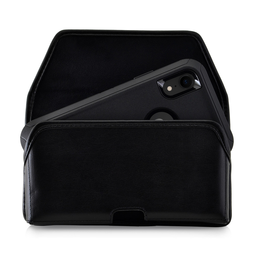 new style 7180b ad59c iPhone XR (2018) Fits with OTTERBOX DEFENDER Black Leather Holster Pouch  Rotating Belt Clip Horizontal