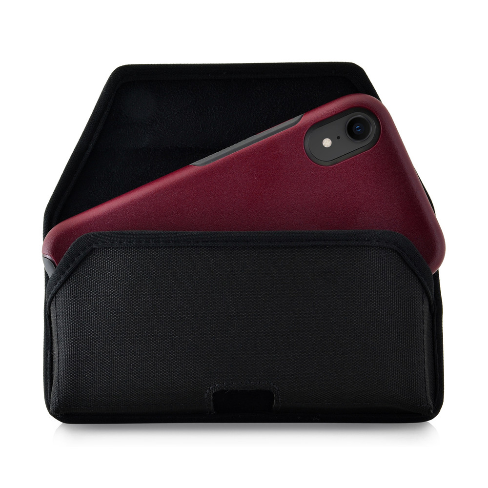 Turtleback Belt Clip Case Designed for iPhone 11 (2019) & XR (2018) Fits with OTTERBOX SYMMETRY, Black Nylon Holster Pouch with Heavy Duty Rotating Belt Clip, Horizontal Made in USA
