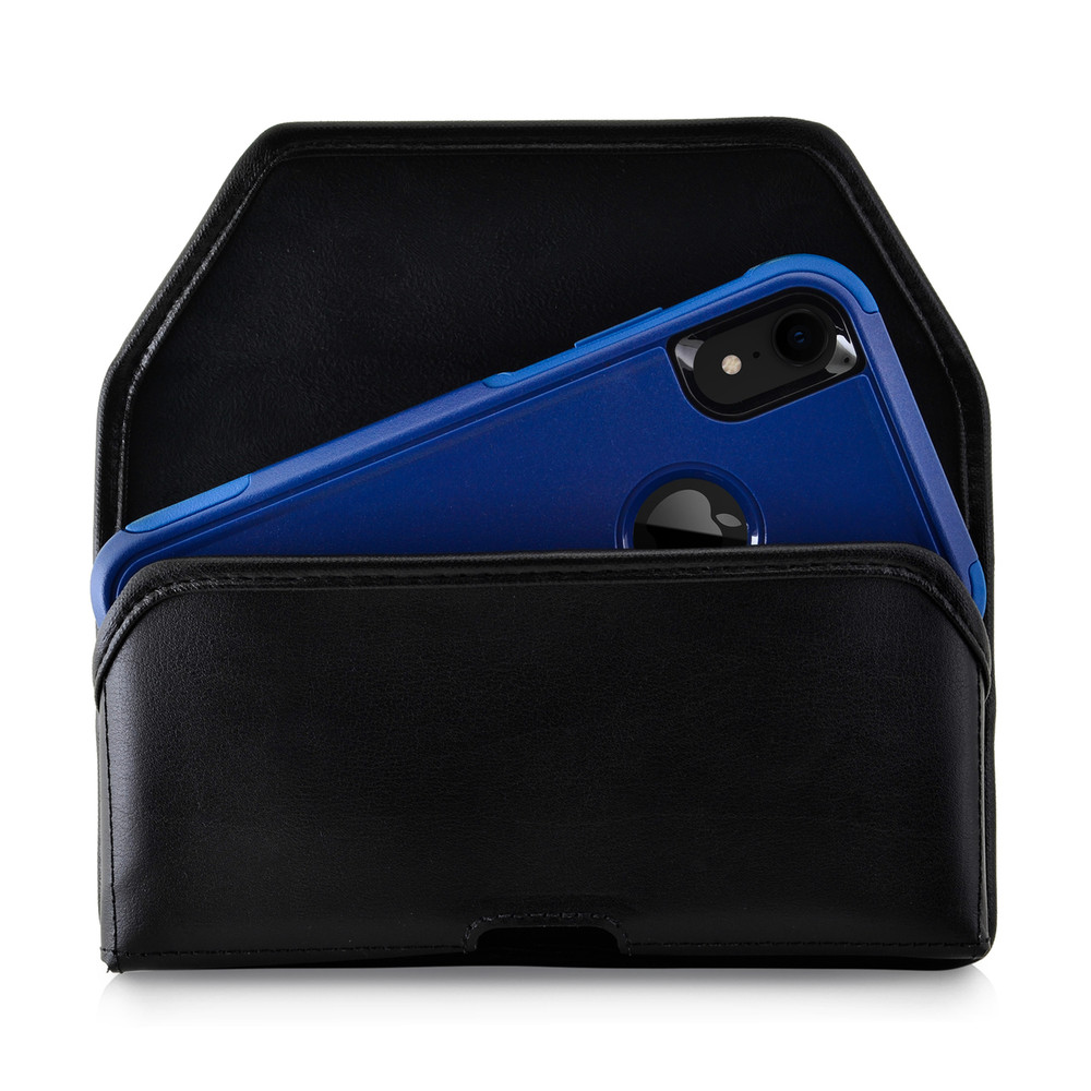 online retailer 3d584 3c18c iPhone XR (2018) Fits with OTTERBOX COMMUTER Black Leather Holster Pouch  Rotating Belt Clip Horizontal