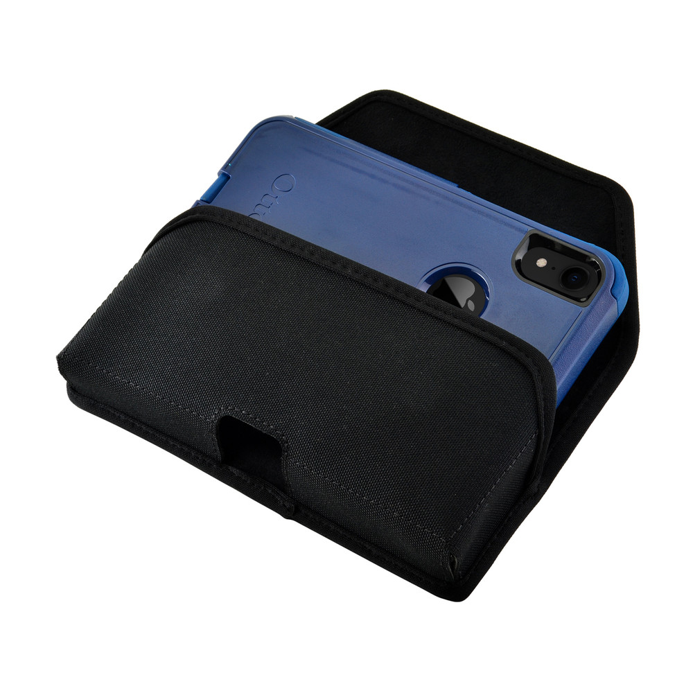 Turtleback Belt Clip Case Designed for iPhone 11 (2019) & XR (2018) Fits with OTTERBOX COMMUTER, Black Nylon Holster Pouch with Heavy Duty Rotating Belt Clip, Horizontal Made in USA