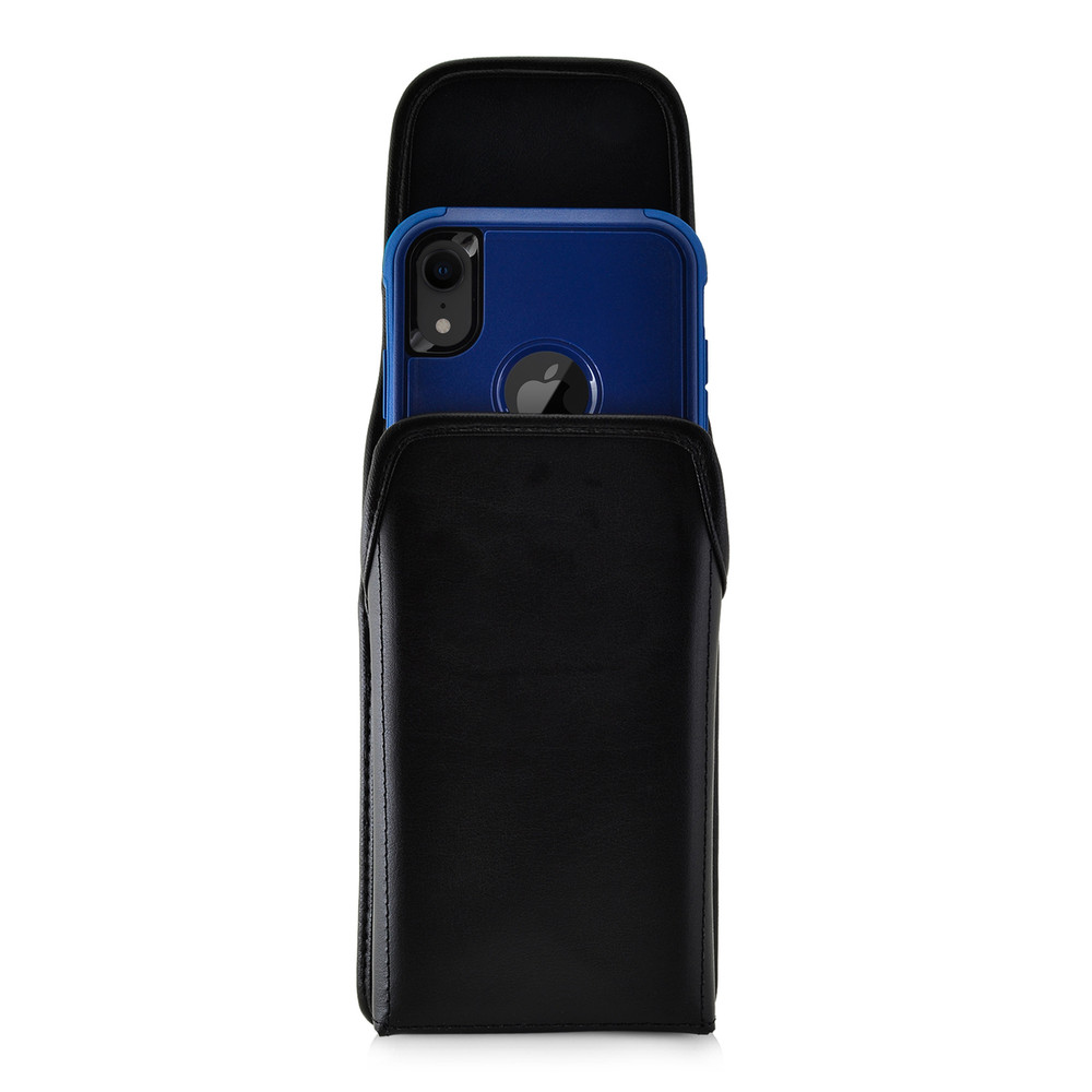 reputable site 67e20 4358f iPhone XR (2018) Fits with OTTERBOX COMMUTER Vertical Holster Black Leather  Pouch Rotating Belt Clip