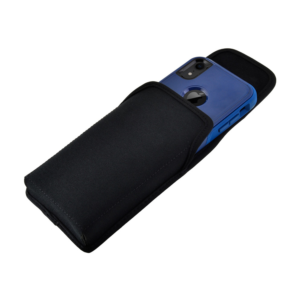 Turtleback Belt Clip Case Designed for iPhone 11 (2019) & XR (2018) Fits with OTTERBOX COMMUTER, Vertical Holster Black Nylon Pouch with Heavy Duty Rotating Belt Clip, Made in USA