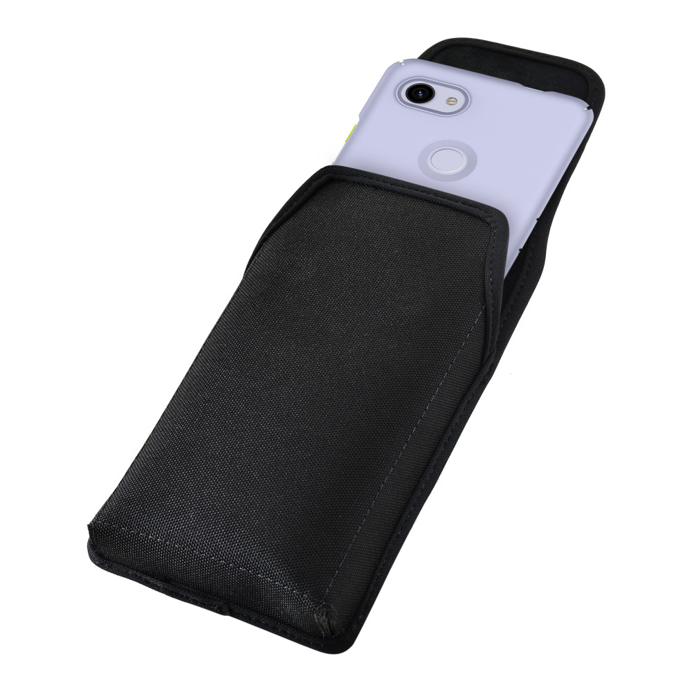 Google Pixel 3A (2019) Vertical Holster Black Nylon Pouch with Heavy Duty Rotating Belt Clip