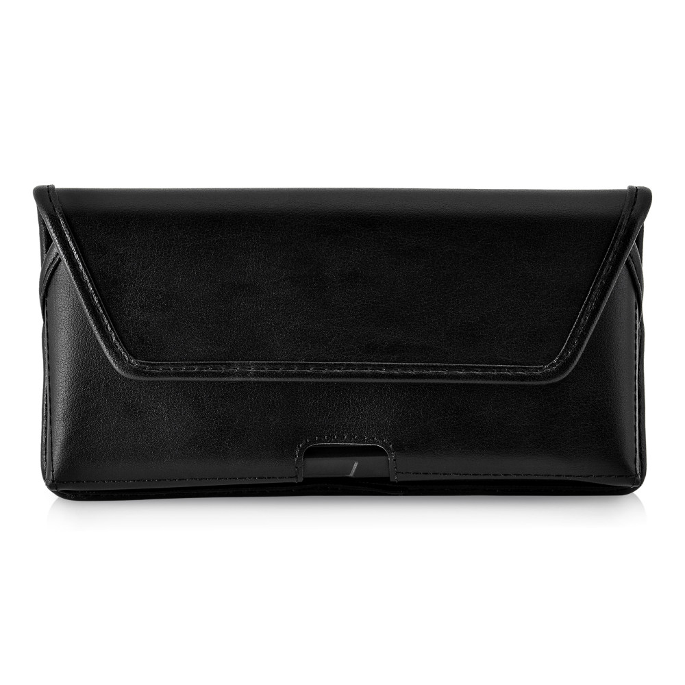 Google Pixel 3A (2019) Belt Case Black Leather Pouch with Executive Belt Clip, Horizontal