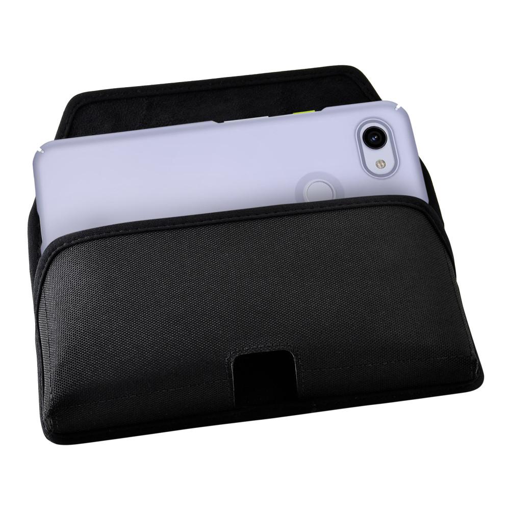 Google Pixel 3A (2019) Belt Holster Black Nylon Pouch with Heavy Duty Rotating Belt Clip, Horizontal