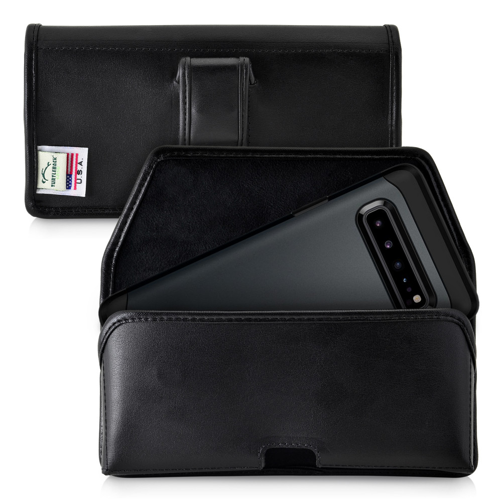 Samsung Galaxy S10 5G (2019) Belt Holster Case Black Leather Pouch with Executive Belt Clip, Horizontal