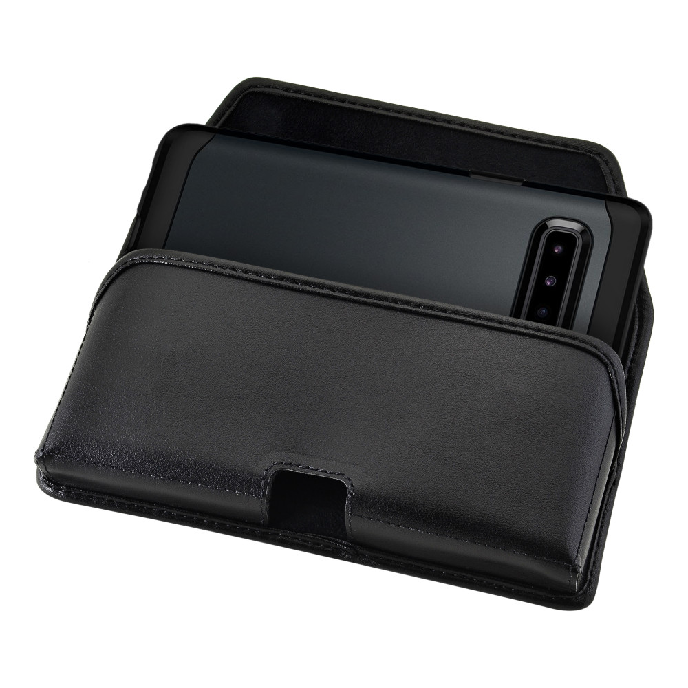 Samsung Galaxy S10 5G (2019) Belt Holster Black Leather Pouch with Heavy Duty Rotating Belt Clip, Horizontal